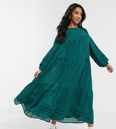 Темно-зеленое платье макси в клетку в стиле oversized с присборенной юбкой и складками ASOS DESIGN Petite-Зеленый цвет