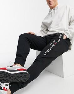 Черные джоггеры с вышитым логотипом и манжетами Tommy Hilfiger-Черный цвет