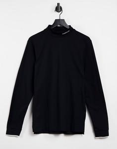 Черный лонгслив с высоким воротом и логотипом Calvin Klein-Черный цвет