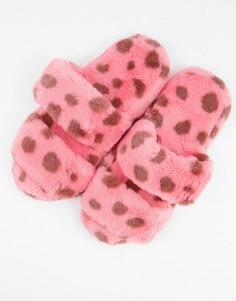 Розовые слиперы с двумя ремешками и леопардовым принтом ASOS DESIGN-Многоцветный