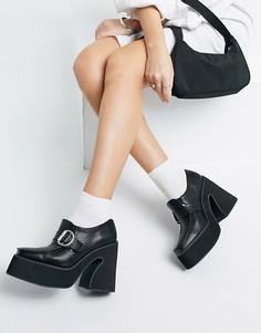 Черные лоферы из экокожи на каблуке и массивной подошве Koi Footwear-Черный цвет