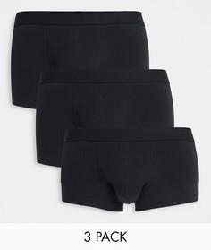 Набор из 3 коротких черных боксеров-брифов ASOS DESIGN-Черный цвет