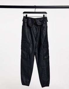 Черные брюки из искусственной кожи с отворотом на талии Jordan-Черный