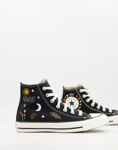 Черные высокие кроссовки с вышивкой Converse Chuck Taylor All Star-Черный цвет