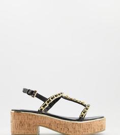 Черные туфли на плоской платформе с отделкой цепочкой ASOS DESIGN Wide Fit Welcoming-Черный цвет