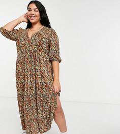 Плиссированное платье макси с V-образным вырезом, ярусной юбкой, длинными рукавами и осенним цветочным принтом ASOS DESIGN Curve-Многоцветный