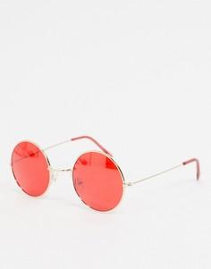 Круглые солнцезащитные очки с красными линзами Jeepers Peepers-Красный
