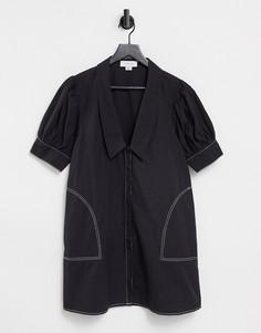 Платье мини с воротником, V-образным вырезом и контрастной строчкой Lost Ink-Черный цвет