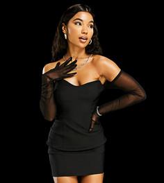 Облегающее платье мини черного цвета с сетчатыми перчатками ASYOU-Черный цвет