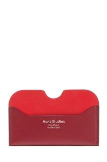 Бордовый кожаный картхолдер Acne Studios