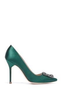 Темно-зеленые туфли Hangisi Satin 105 Manolo Blahnik