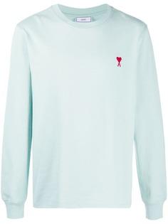 AMI Paris футболка с длинными рукавами и вышитым логотипом