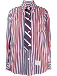 Thom Browne полосатая рубашка со вставкой в виде галстука