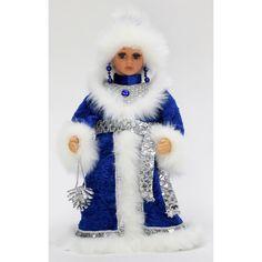 Елочное украшение Triumph Nord Снегурочка в голубой с серебром шубе и шапке 30 см