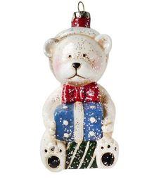 Елочное украшение Новогодняя сказка Мишка с подарком 11 см