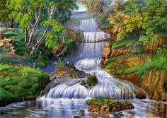 Картина по номерам, Мост через водопад, холст на подрамнике 40х50см Paintboy
