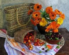 Картина по номерам , Ягоды и цветы - размер 40х50см Paintboy