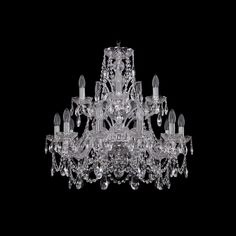 Хрустальная люстра 1411/10+5/240/2d Ni Bohemia Ivele Crystal