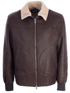Кожаная куртка с мехом Brunello Cucinelli