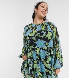 Темное ярусное платье мини с присборенной юбкой и цветочным принтом ASOS DESIGN Curve-Многоцветный