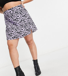 Юбка мини в стиле 90-х с разрезом и цветочным принтом Glamorous Curve-Сиреневый