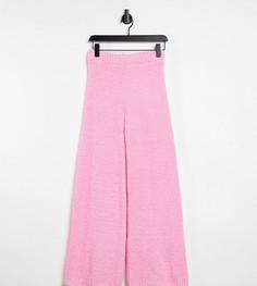 Широкие вязаные домашние брюки розового цвета (от комплекта) Missguided Petite-Розовый цвет