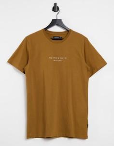 """Рыжая футболка с принтом """"Tokyo"""" Burton Menswear-Коричневый цвет"""