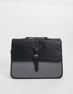 Сумка портфель из черной искусственной кожи и вставки из сукна ASOS-Черный цвет