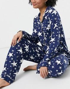 Черно-белая пижама с рубашкой и брюками с принтом звезд Chelsea Peers-Черный цвет