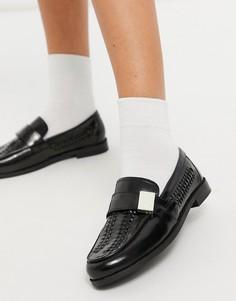 Черные кожаные лоферы с плетеной отделкой ASOS DESIGN Mina-Черный цвет
