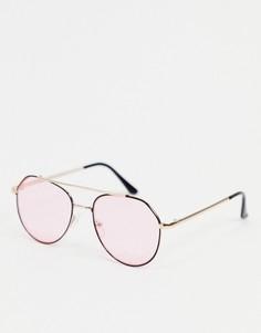Черные солнцезащитные очки-авиаторы с розовыми стеклами AJ Morgan-Черный цвет