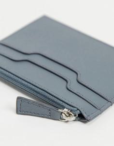 Голубая кожаная кредитница на молнии ASOS DESIGN-Серый