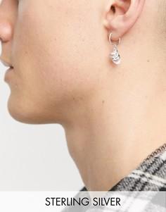 Серебряные серьги-кольца размером 12мм с подвесками в форме масок ASOS DESIGN-Серебристый