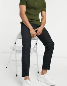 Черные укороченные зауженные брюки Burton Menswear-Черный цвет