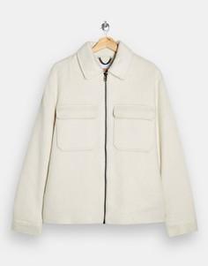 Светло-бежевая рубашка-куртка из искусственной шерсти Topman-Кремовый