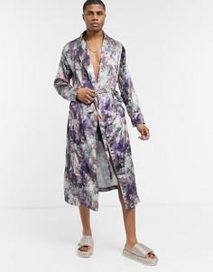 Атласный халат с принтом от комплекта ASOS DESIGN-Многоцветный