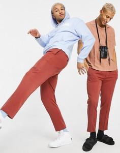 Зауженные книзу брюки рыжего цвета в строгом стиле с поясом на двух пуговицах ASOS DESIGN-Коричневый цвет