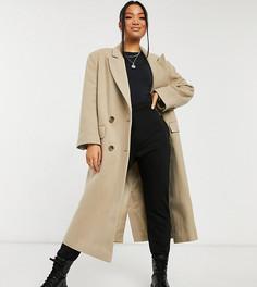 Бежевое удлиненное пальто из саржи в винтажном стиле ASOS DESIGN Petite-Черный цвет
