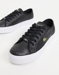 Черные кроссовки на платформе с золотистой нашивкой Lacoste Ziane Grand-Черный цвет