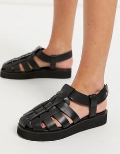 Черные кожаные туфли премиум-класса в рыбацком стиле на плоской подошве ASOS DESIGN Mali-Черный цвет