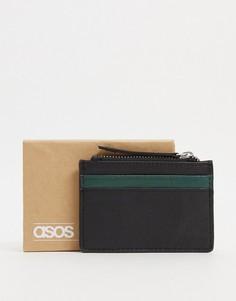 Кожаная кредитница с контрастной темно-зеленой вставкой и молнией ASOS DESIGN-Черный цвет
