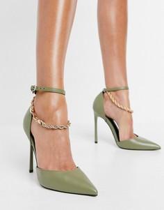 Туфли на высоком каблуке оливкового цвета с цепочкой ASOS DESIGN Palma-Зеленый цвет