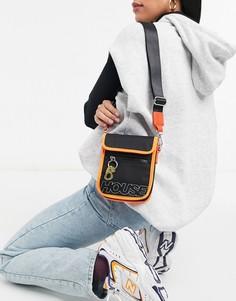 Черная нейлоновая сумка через плечо с контрастной оранжевой отделкой House of Holland-Черный цвет