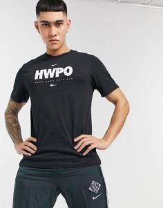 """Черная футболка с принтом """"HWPO"""" Nike Training-Черный цвет"""