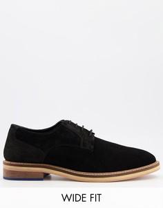 Черные замшевые туфли дерби на шнуровке для широкой стопы KG By Kurt Geiger-Черный цвет
