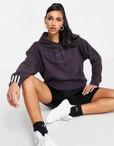 Флисовый худи темно-фиолетового цвета с логотипом adidas Originals RYV-Фиолетовый цвет