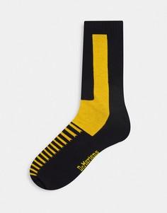 Черно-желтые носки Dr Martens Double Doc-Черный цвет