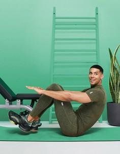 Бесшовные спортивные леггинсы в рубчик с эффектом кислотной стирки ASOS 4505-Зеленый цвет