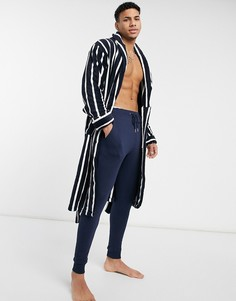 Темно-синий халат в полоску French Connection
