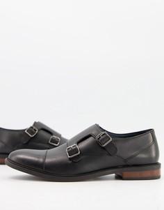 Черные кожаные туфли с пряжками Moss London-Черный цвет